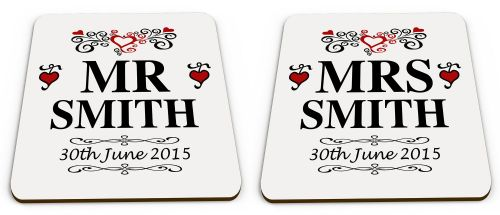 Personalised Set Of 2 Mr & Mrs Novelty Glossy Mug Coasters